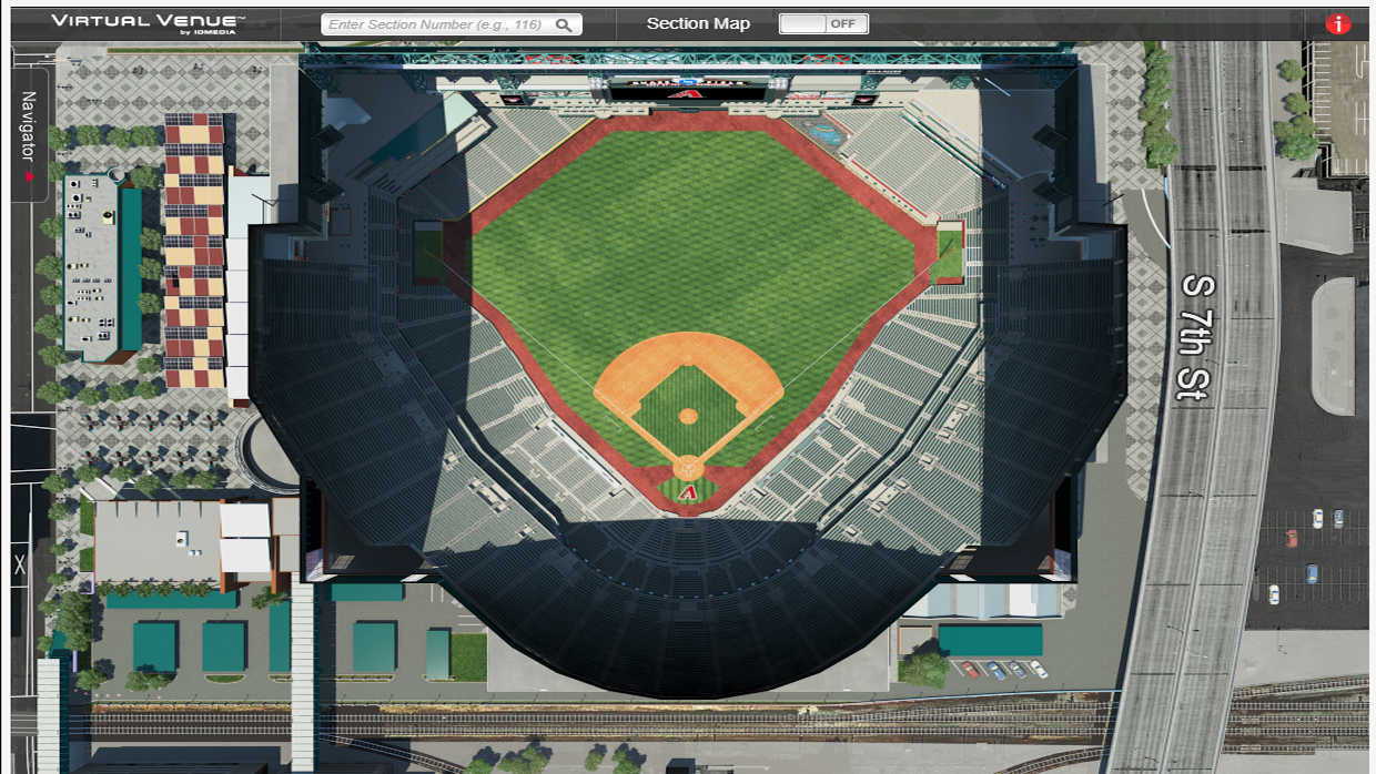 Arizona Diamondbacks Stadium Map Arizona Diamondbacks Virtual Venue™ by IOMEDIA